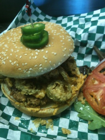 A jalapeno cheddar Harmony Valley burger from Bean.  Photo Credit:  Bean Vegan Cuisine