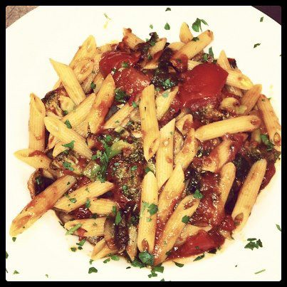 Vegan Pasta Primavera in Marinara Sauce.  Photo Credit:  Portofino's