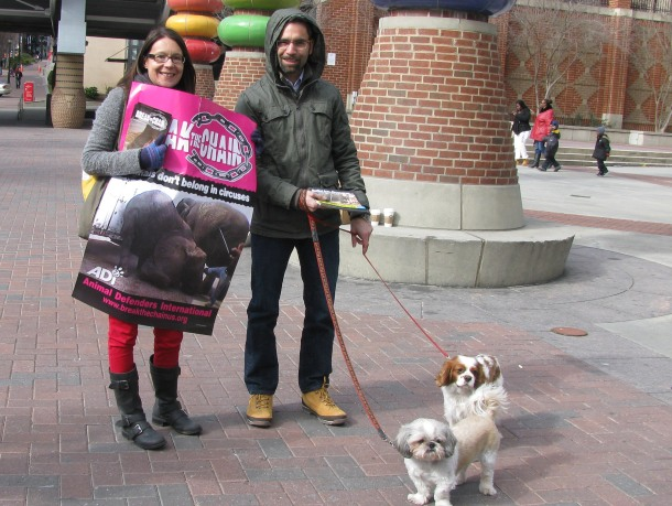 Couples came to protest together - with their kids or with their dogs!  (Same thing, right?)