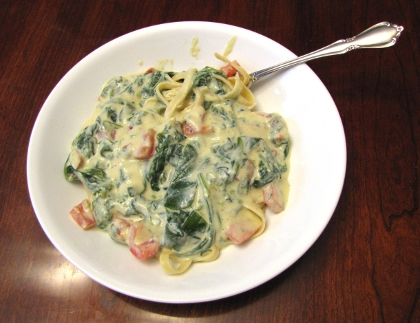 Vegan Fettucine Alfredo Primavera with Baby Spinach and Fresh Tomatoes