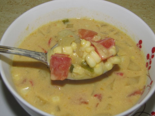 Creamy, Curried Summertime Corn Chowder with Nutritional Yeast