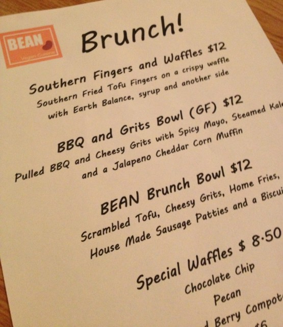Bean Brunch Menu (Photo Credit:  Bean Vegan Cuisine)