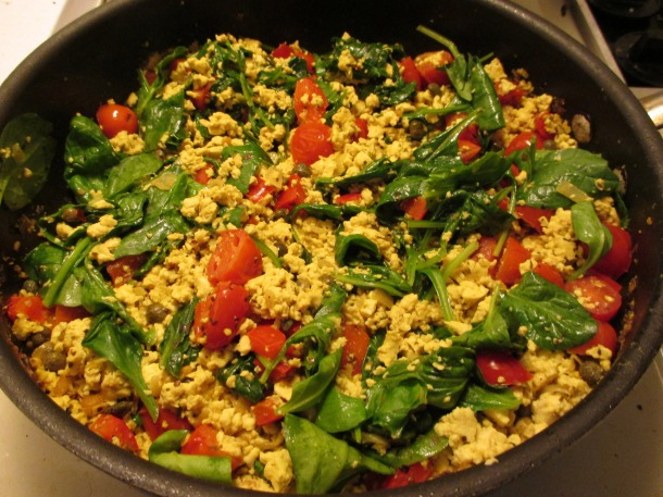 An Italian Tofu Scramble I made with free Nasoya tofu.