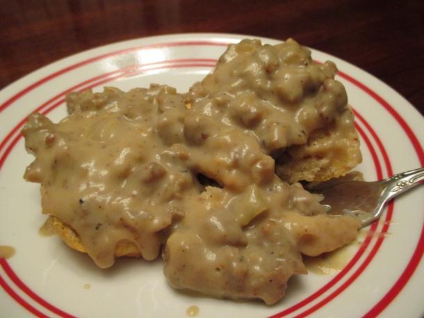 Vegan Sausage Gravy Biscuits