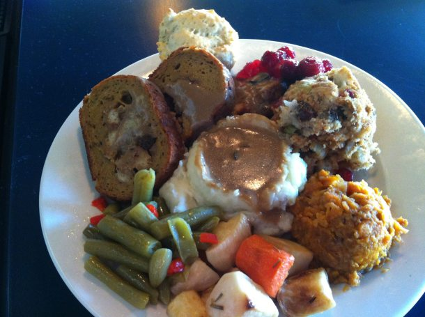 Bean's Fixed Plate Holiday Dinner from 2012.  Soup and dessert not shown.