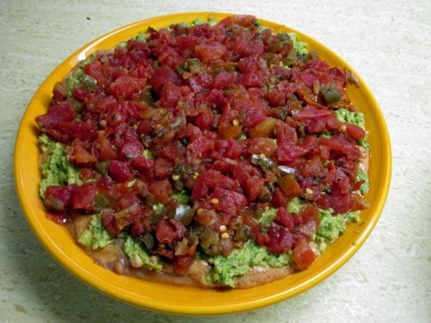 Vegan Layered Bean Dip Step Step 3 and 4