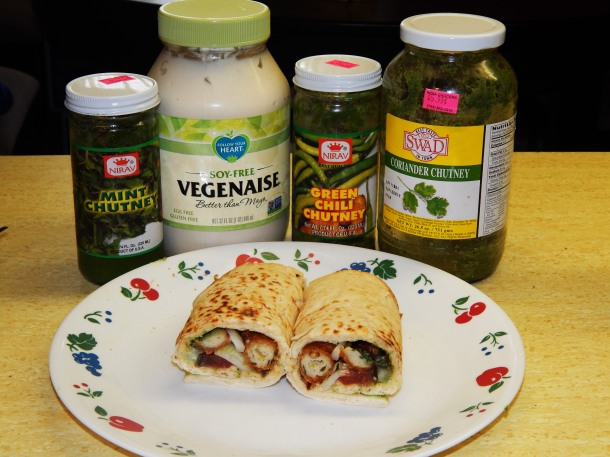 medu vada wraps with condiments