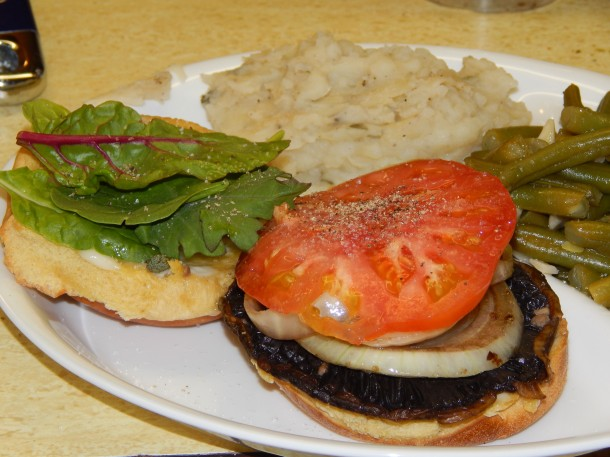 Open Faced Portobello Burger