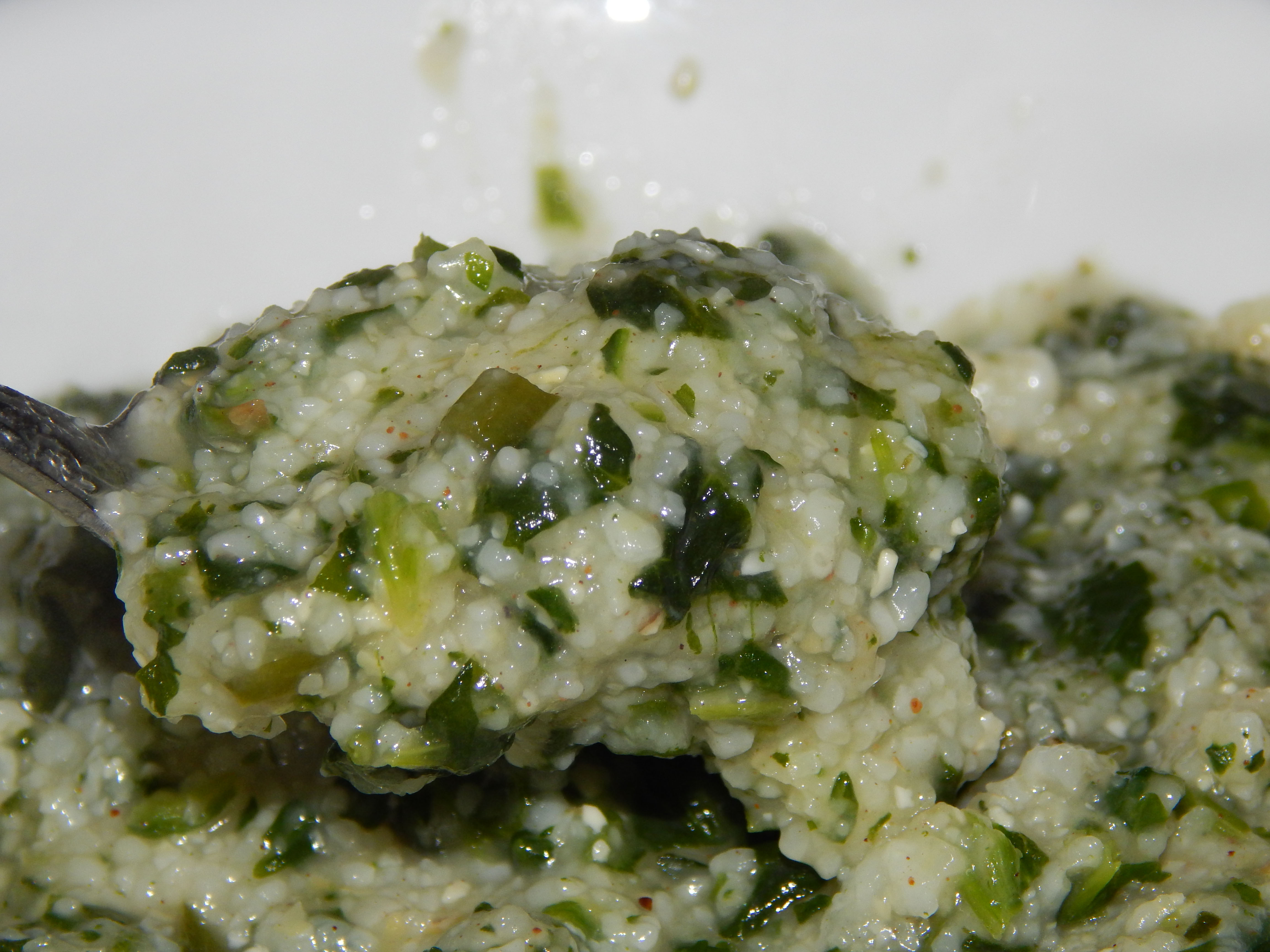 Green Grits (Grits With Spinach) Close Up
