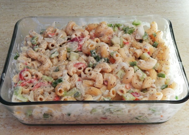 Vegan Macaroni Salad, ready to be chilled
