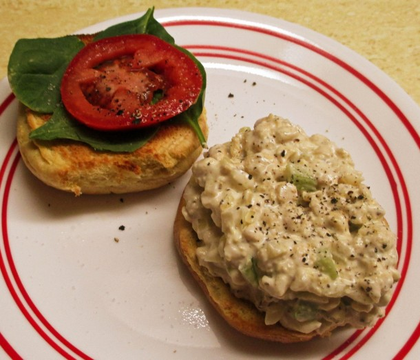 Open Faced Tempeh Chicken Salad Sandwich