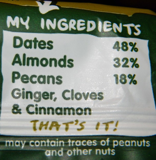 Ingredients in the Ginger Bread Nakd Bar