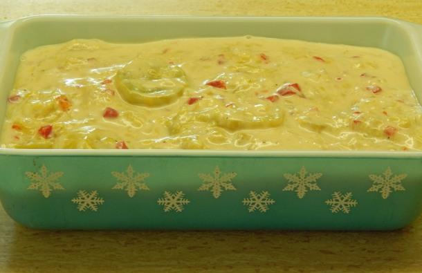 squash casserole in pan