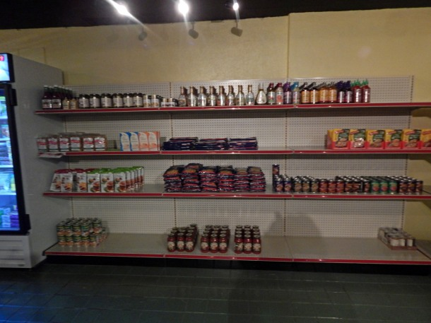 bean market stocking shelves
