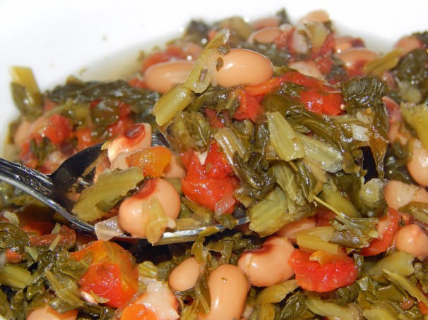 Black Eyed Peas and Collard Greens Close Up