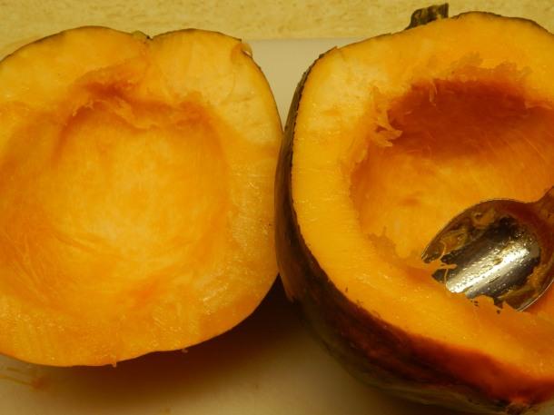 acorn squash - scooped