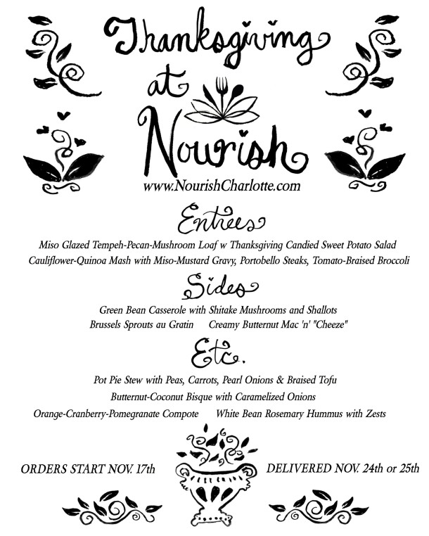 Nourish Thanksgiving Menu