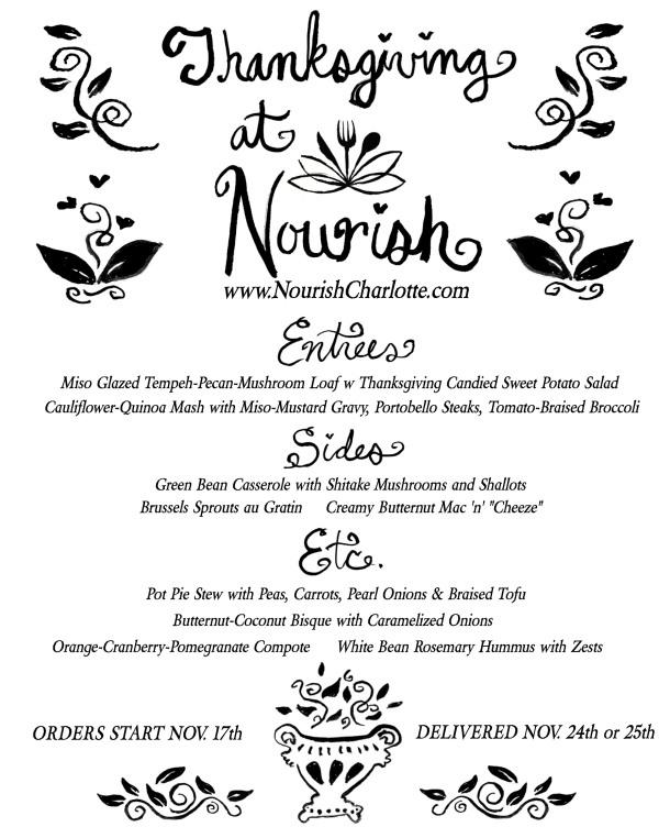 Nourish Thanksgiving Menu