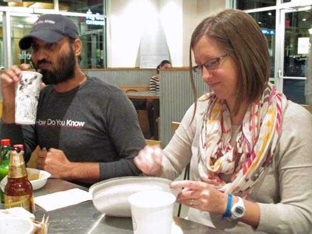 Sarah and Amrik enjoying sofritas