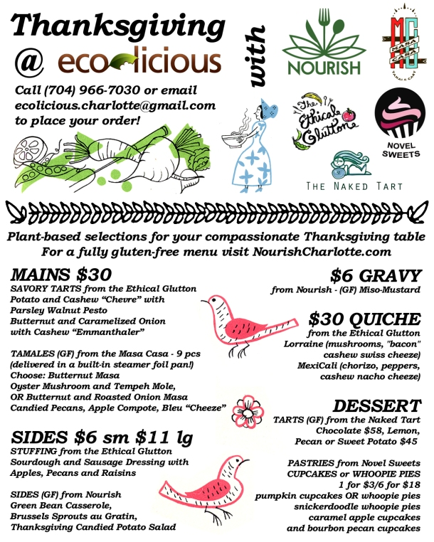 Eco-Licious Thanksgiving Preorder Menu