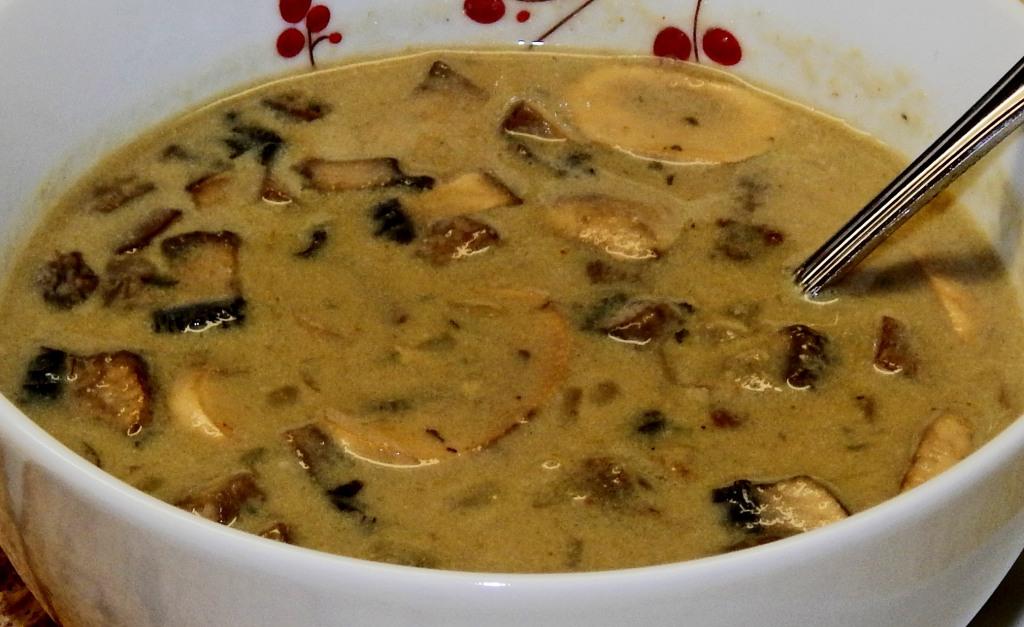 Vegan Mushroom Soup Close Up