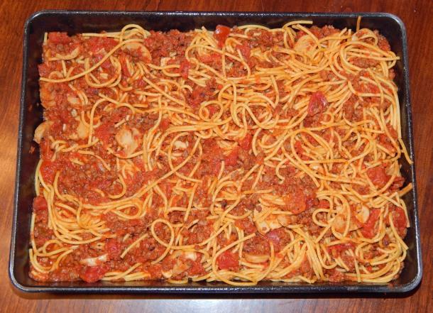 Baked Spaghetti in Pan