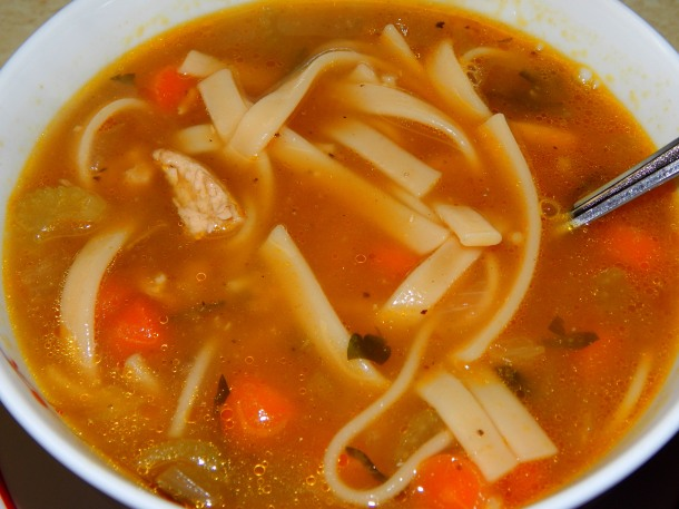 Vegan Chicken Noodle Soup in Bowl