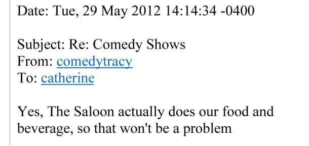 Email from Tracy at Comedy Zone