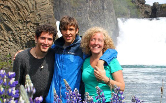 Dr. LeAnne Campbell with her two vegan sons