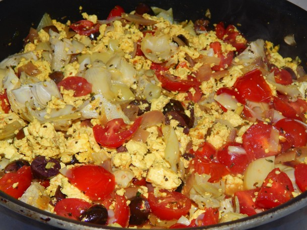 Greek Tofu Scramble w Tomatoes Olive Peppers Artichoke Hearts