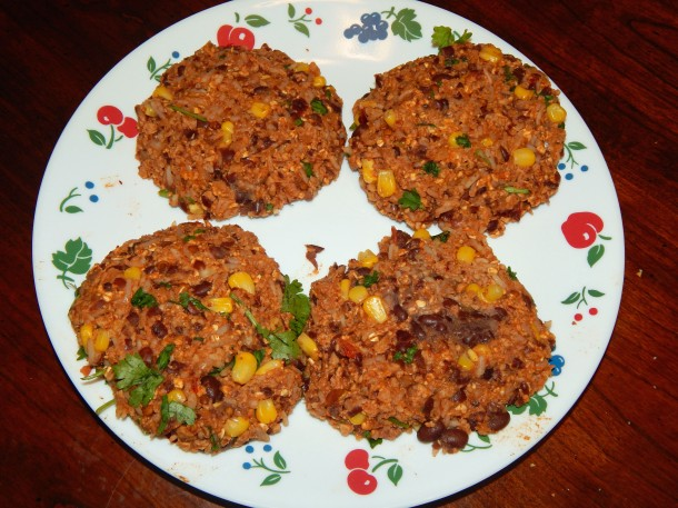 Uncooked Vegan Gluten Free Black Bean Burgers