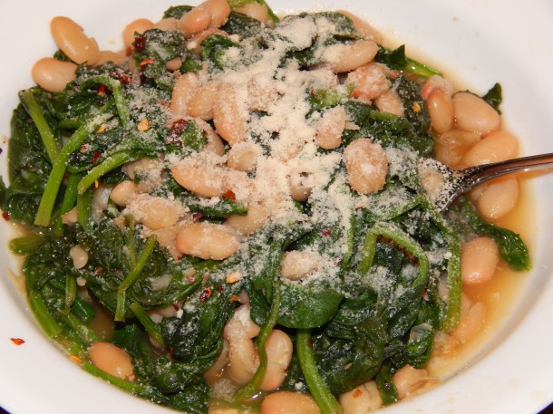Tuscan Beans and Greens w Veggie Parmesan