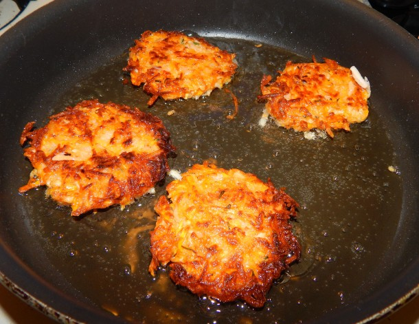 sweet potato latkes cooking