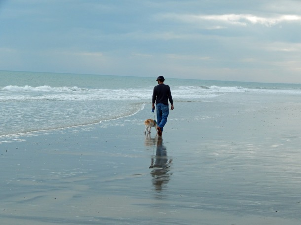 scruffy and papa on beach 2