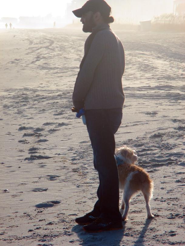 Scruffy and Papa on beach