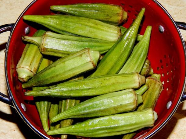 Okra / bhindi in colander
