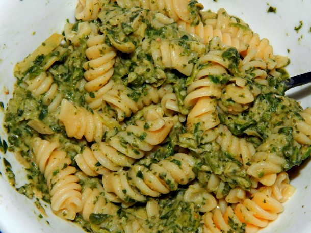 Glorious Green Goo Vegan Spinach Artichoke Pasta