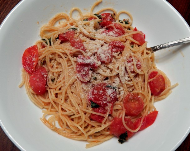 Basil Tomato Pasta Parmesan Cheese