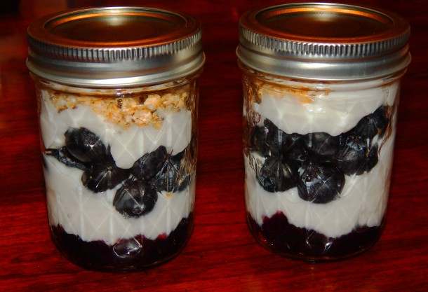 Blueberry Jam and Yogurt Parfait with Lid