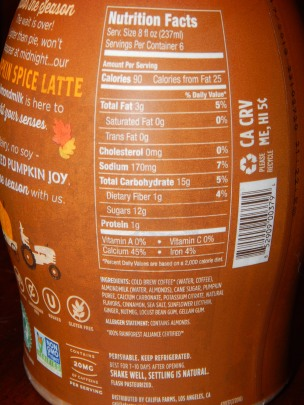 Califia Pumpkin Spice Nutrition Ingredients