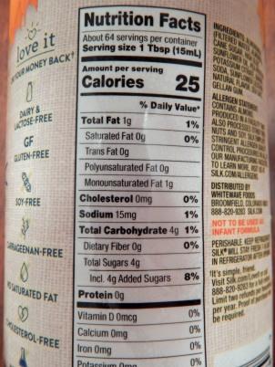 Silk Pumpkin Spice Creamer Nutrition Label