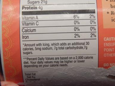 Trader Joe's Pumpkin Rolls Nutrtitional Information 2