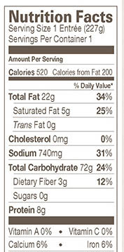 Amy's Mac and Cheeze Nutrtion Info