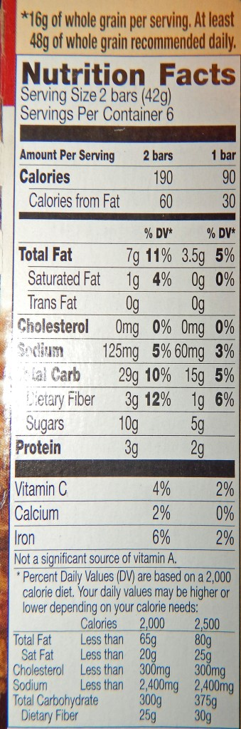 Nature Valley Granola Bars Pumpkin Spice Nutrition Info