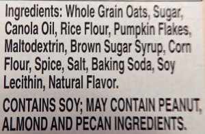 Nature Valley Pumpkin Spice Granola Bar Ingredients
